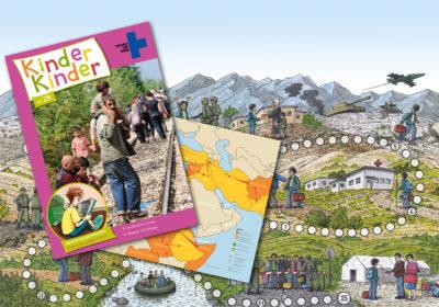 Titelseite des Heftes Kinder, Kinder 28 sowie zwei Doppelseiten aus dem Heft. (Quelle: Peter Laux)