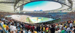 Stadion in Rio de Janeiro während der Fußball- WM 2014. (Quelle: dronepicr/wikimedia-commons)