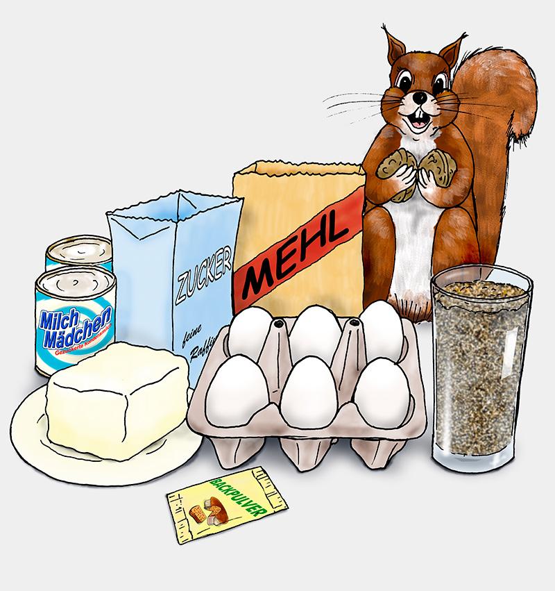 Ein Eichhörnchen mit den Zutaten für die Kekse. (Quelle: Angela Richter)