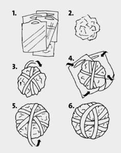 Gezeichnete Anleitung, einen Fußball aus Plastiktüten zu basteln. (Quelle: Angela Richter)