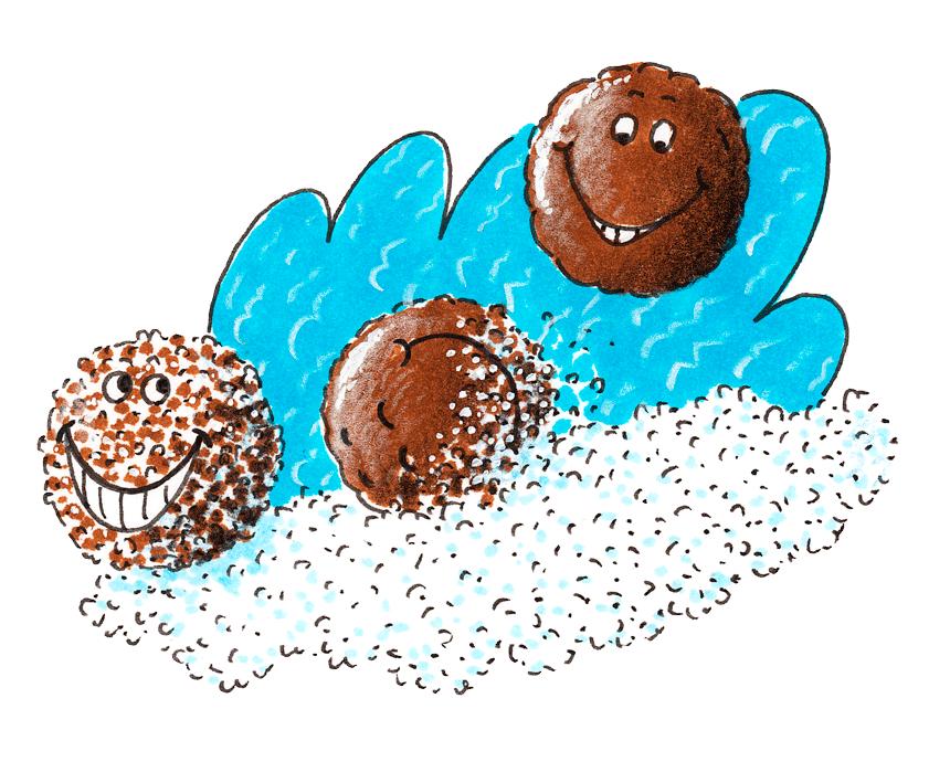 Brigadeiros: Schokokugeln mit Gesichtern, die sich in Zucker wälzen. (Quelle: Peter Laux)