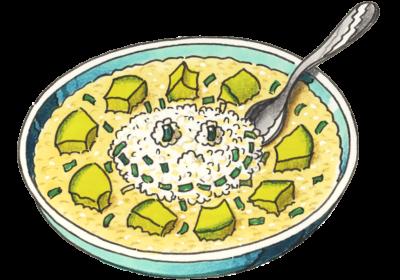 Ein gezeichneter Teller mit Kartoffelsuppe. (Quelle: Peter Laux)
