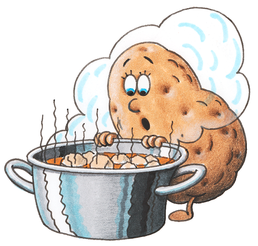 Eine Kartoffel mit erstauntem Gesicht schaut in einen Kochtopf. (Quelle: Peter Laux)