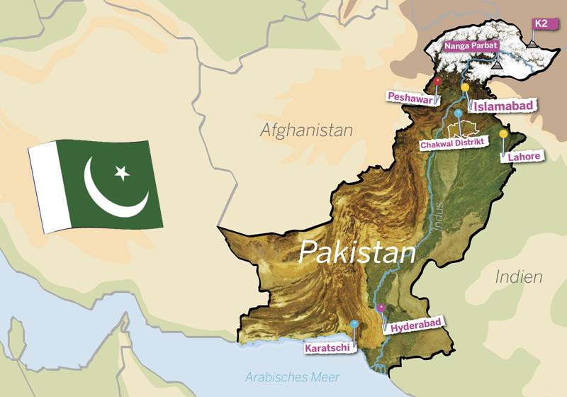 Pakistan-Landkarte. Quelle: Angela Richter)