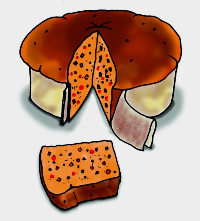 Ein Hefekuchen mit einem herausgeschnittenen Stück. (Quelle: Angela Richter)