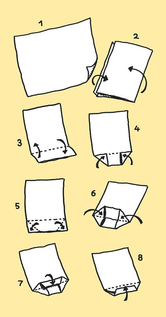 Faltanleitung für Tüten. (Quelle: Peter Laux)