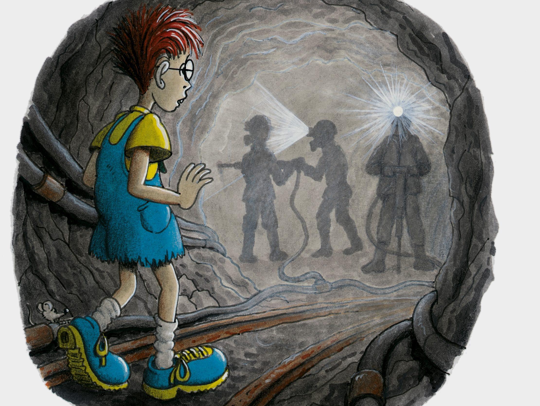 Robinson beobachtet in einem Bergwerksstollen Männer mit Atemschutzmasken und Bohrern. (Quelle: Peter Laux)
