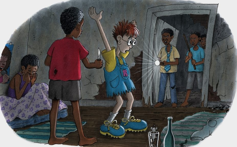 Robinson landet nachts in einem Haus, in dem Straßenkinder leben. (Quelle: Peter Laux)