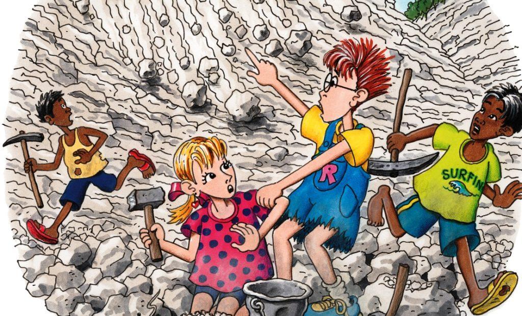 Robinson und Tina arbeiten in einem Steinbruch, als eine Geröll-Lawine den Berg hinunterprasselt. (Quelle: Peter Laux)