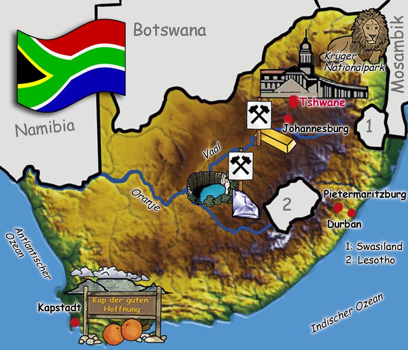 Südafrika Karte (Quelle: Angela Richter)