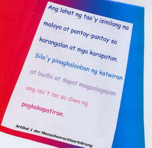 Artikel 1 der Menschenrechtserklärung. (Quelle: Kindernothilfe)