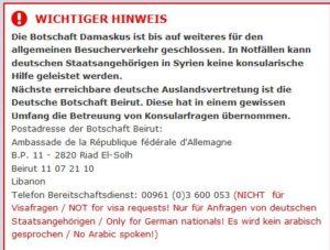 Hinweis auf der Seite der Deutschen Botschaft in Damaskus.