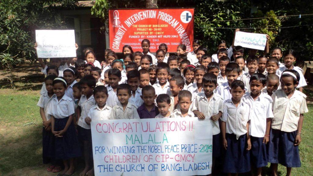 Kinder aus einem Kindernothilfe.Projekt in Bangladesch gratulieren Malala zum Friedensnobelpreis. (Quelle: Kindernothilfe-Partner)