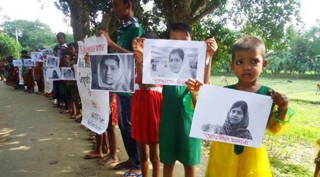 Kinder aus einem anderen Kindernothilfe-Projekt in Bangladesch gratulieren Malala zum Friedensnobelpreis. (Quelle: Kindernothilfe-Partner)