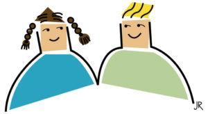 Zeichnung von einem Mädchen und einem Jungen. (Quelle: Jan Robert Dünnweller)