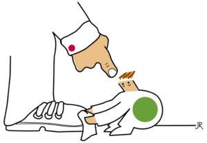 Zeichnung von einem Kind, das einem riesengroßen Mann die Schuhe putzt. (Quelle: Jan Robert Dünnweller)