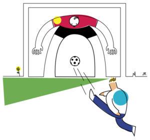 Zeichnung von eine, Kind, das einem Torwart durch die Beine schießt. (Quelle: Jan Robert Dünnweller)