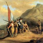 Ein altes Gemälde: Jan van Riebeeck, wie er in Südafrika gelandet ist. (Quelle: Charles Davidson Bell)