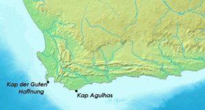 Landkarte mit dem Kap der Guten Hoffnung und dem Kap Agulhas. (Quelle: Agulhas-Map-CC-BY-SA-3-0-https-commons.wikimedia.org-w-index-php-curid-719134-e1469536807414)