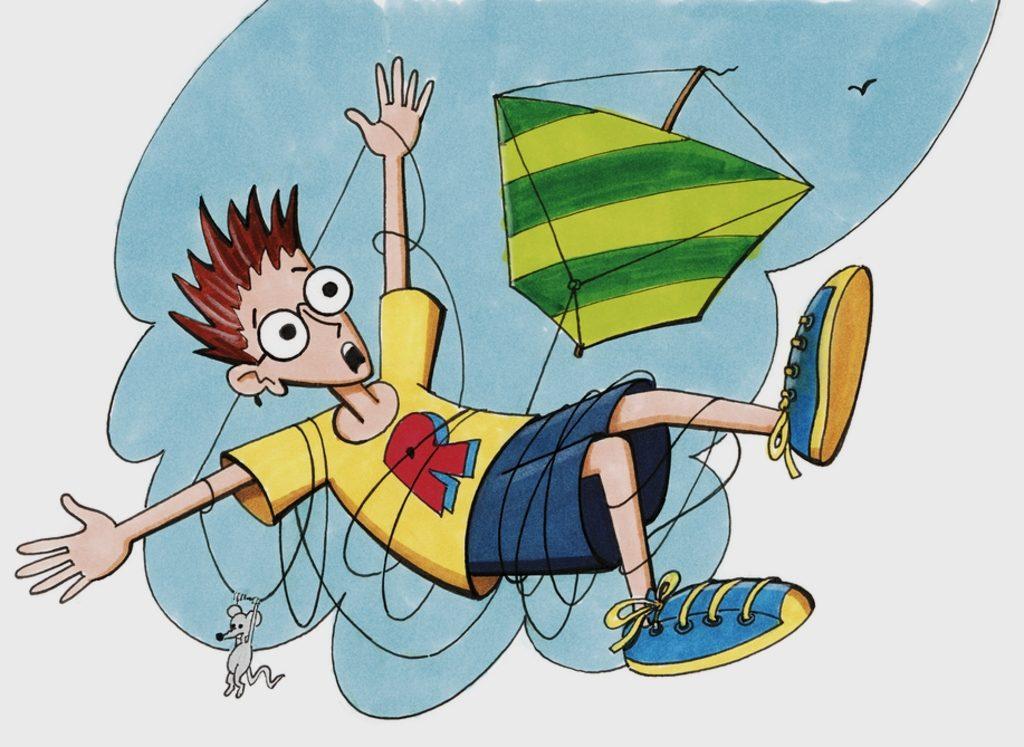 Robinson fällt, in eine Drachenschnur eingewickelt, vom Himmel. (Quelle: Peter Laux)