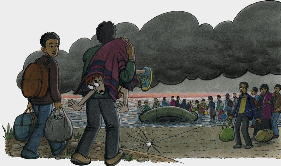 Flüchtlinge steigen in ein Schlauchboot - ein Mann hat Robinson in einen Teppich gewickelt und über seine Schulter geworfen. (Quelle: Peter Laux)