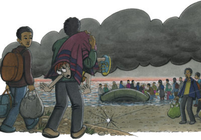 Zeichnung von Robinson, der in einen Teppich eingewickelt zu einem Boot getragen wird. (Quelle: Peter Laux)
