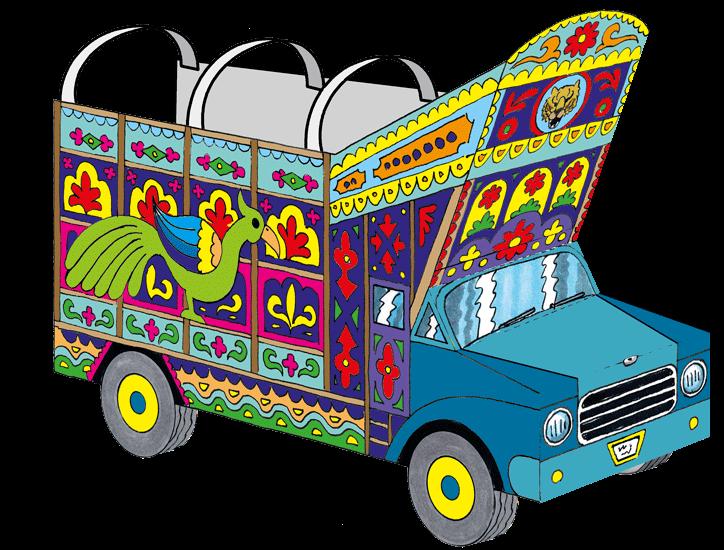 Ein pakistanischer Laster aus Papier. (Quelle: Peter Laux)