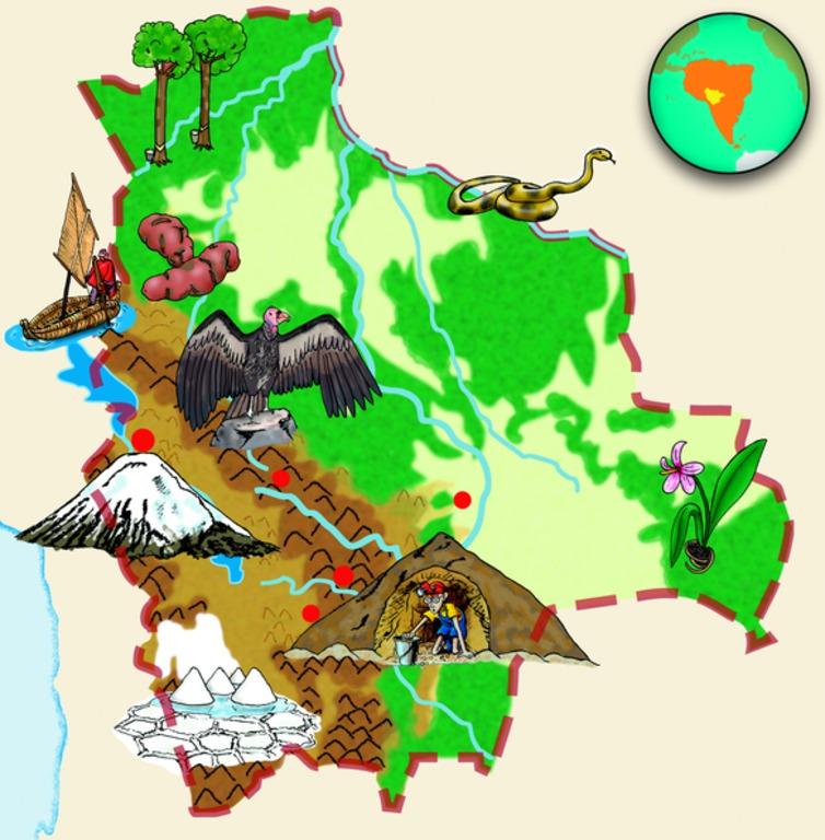 Bolivien-Landkarte. (Quelle: Angela Richter)