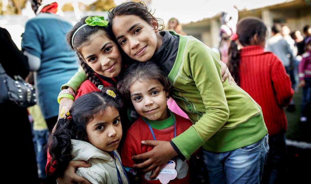 Vier syrische Flüchtlingsmädchen im Kindernothilfe-Projekt im Libanon. (Quelle: Jakob Studnar)