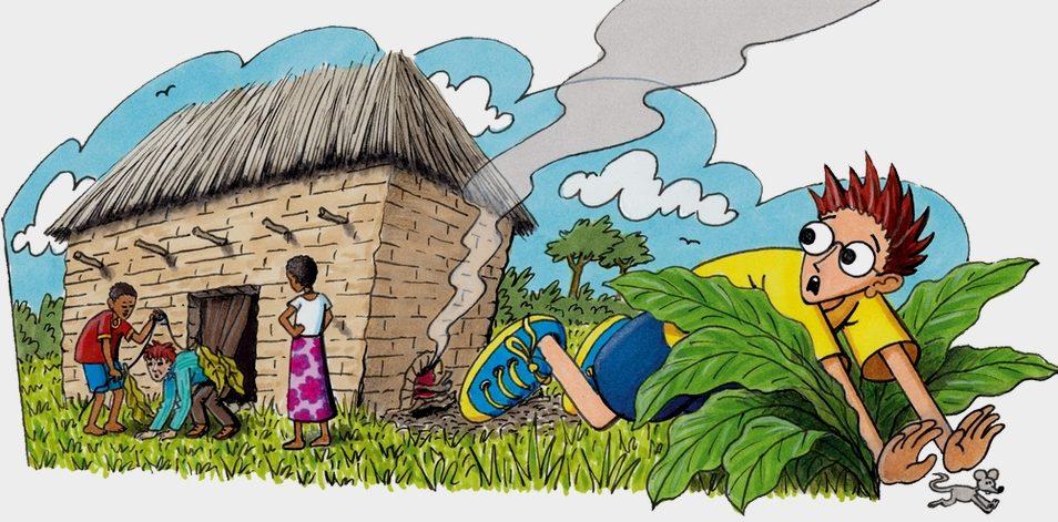 Robinson flüchtet mit einem Hechtsprung in die Tabakpflanzen. (Quelle: Peter Laux)