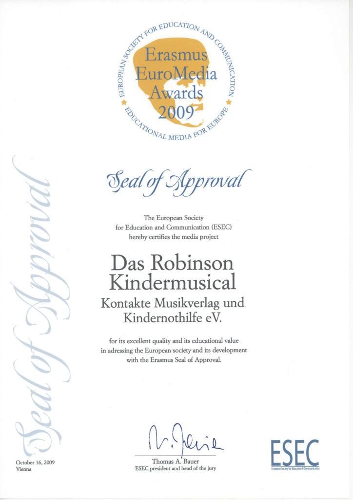 Urkunde des Erasmus EuroMedia Awards 2009