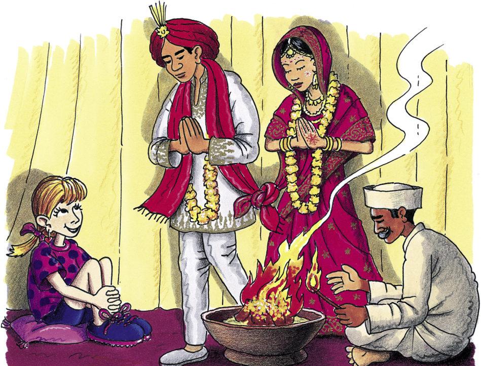 Tina darf an einer hinduistischen Hochzeit teilnehmen. (Quelle: Peter Laux)