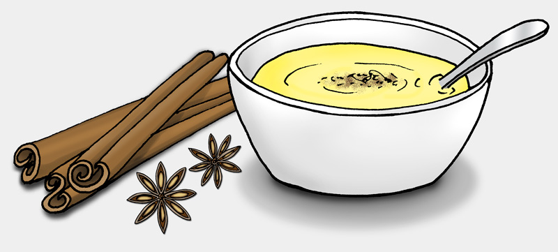 Eine Schale mit einem gelben Brei, Zimtstangen und Sternanis. (Quelle: Angela Richter)