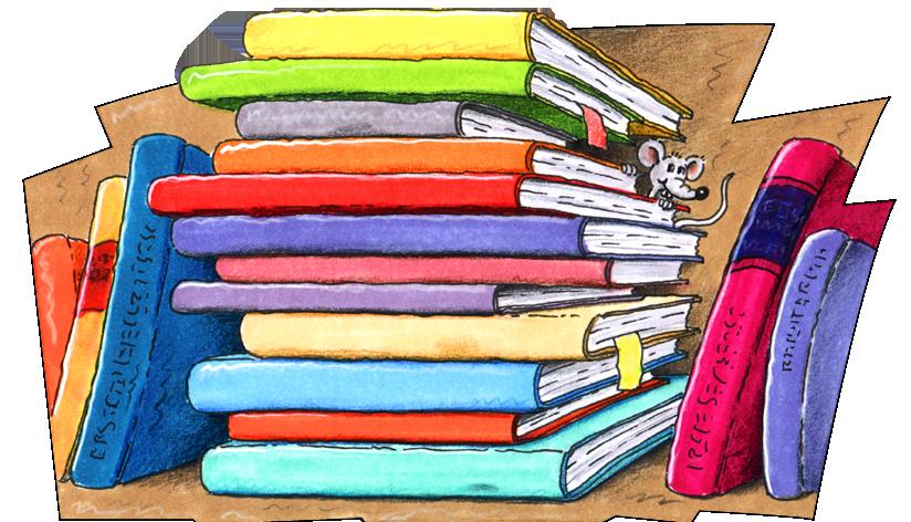Zeichnung von aufeinandergestapelten Büchern. (Quelle: Peter Laux)