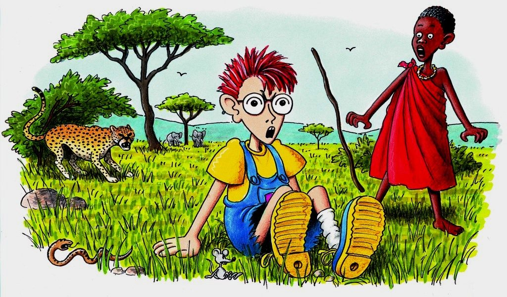 Robinson landet auf einer Wiese, wo er einen Massai-Jungen und einen Geparden erschreckt. (Quelle: Peter Laux)