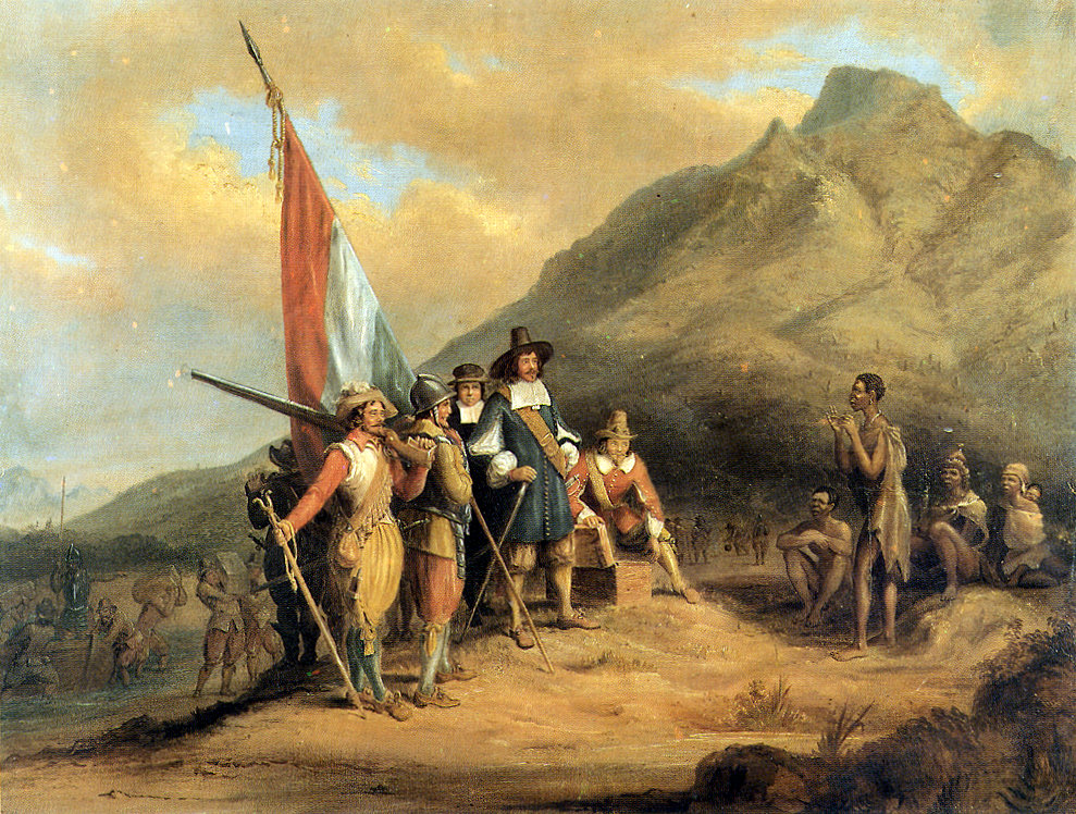So sah es der Maler Charles Bell: Jan van Riebeecks Ankunft in Südafrika im April 1652. (Quelle: Wikimedia Commons)