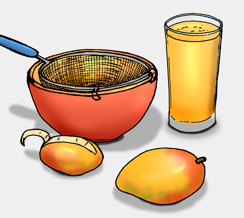 Illustration: Mangosaft herstellen (Quelle: Angela Richter)