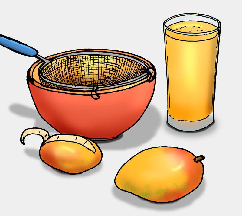 Illustration: Mangosaft herstellen (Quelle: Angela Richter)