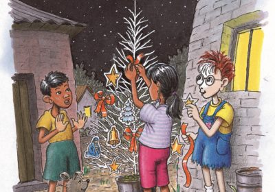 Ein weißlackierter Zweig als Weihnachtsbaum auf den Philippinen. (Quelle: Peter Laux)