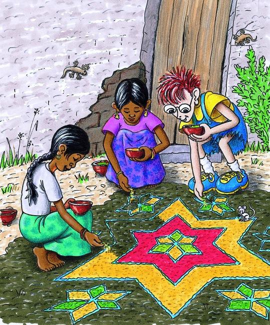 Robinson hilft den Mädchen bei ihrem Rangoli. (Quelle: Peter Laux)