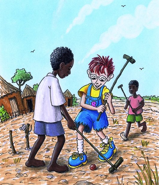 Robinson spielt mit einem äthiopischen Jungen eine Art Hockey. (Quelle: Peter Laux)