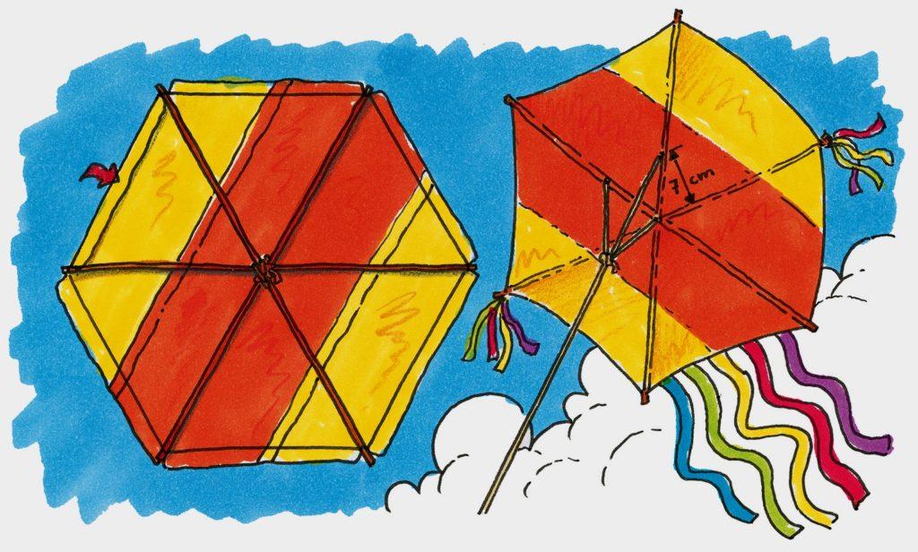 Drachengestell und Befestigungshinweis für die Drachenschnur. (Quelle: Peter Laux)