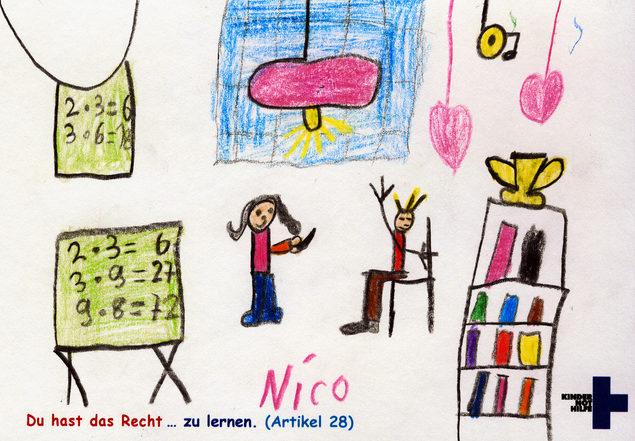 """Kindergemälde zum Thema """"Du hast das Recht zu lernen."""" (Quelle: Kindernothilfe)"""