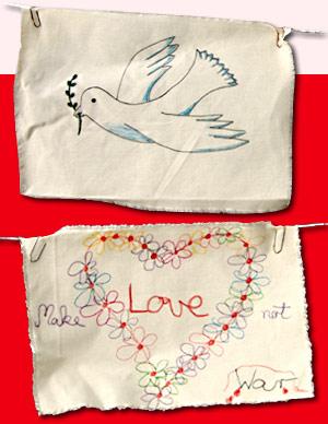 Eine Taube mit Olivenzweig im Schnabel und ein Blütenherz. (Quelle: Kindernothilfe)