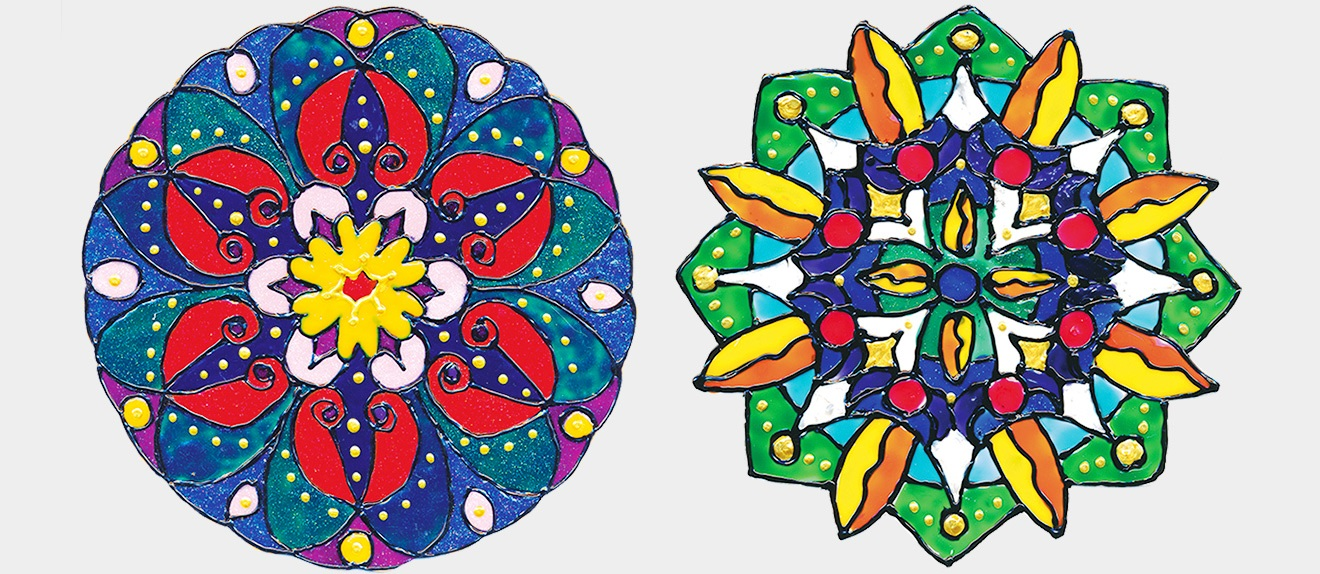 2 Mandalas – gemalt mit Window Color. (Quelle: Gunhild Aiyub)