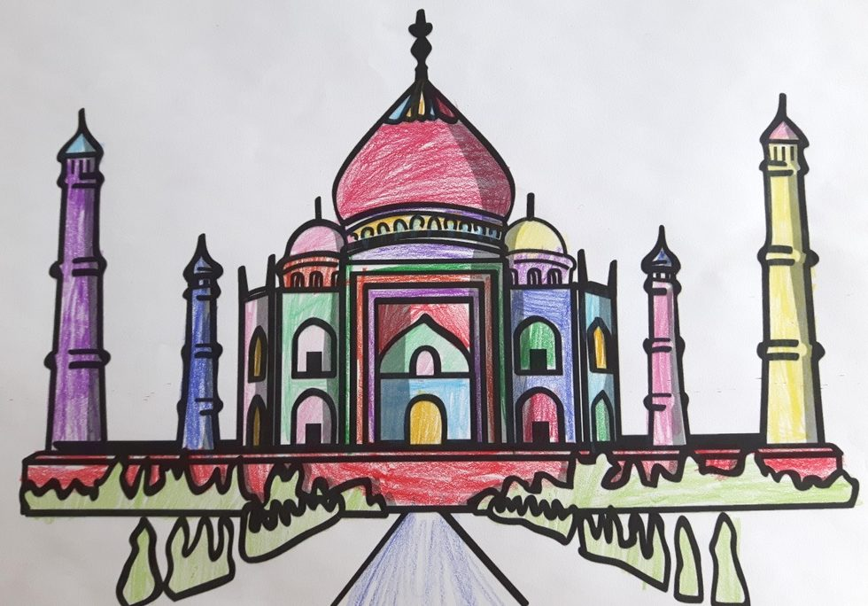 Das Taj Mahal - bunt gemalt von Marlene Krämer (9 Jahre).