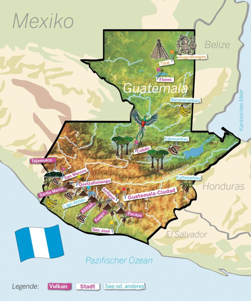 Guatemala-Landkarte. (Quelle: Angela Richter)