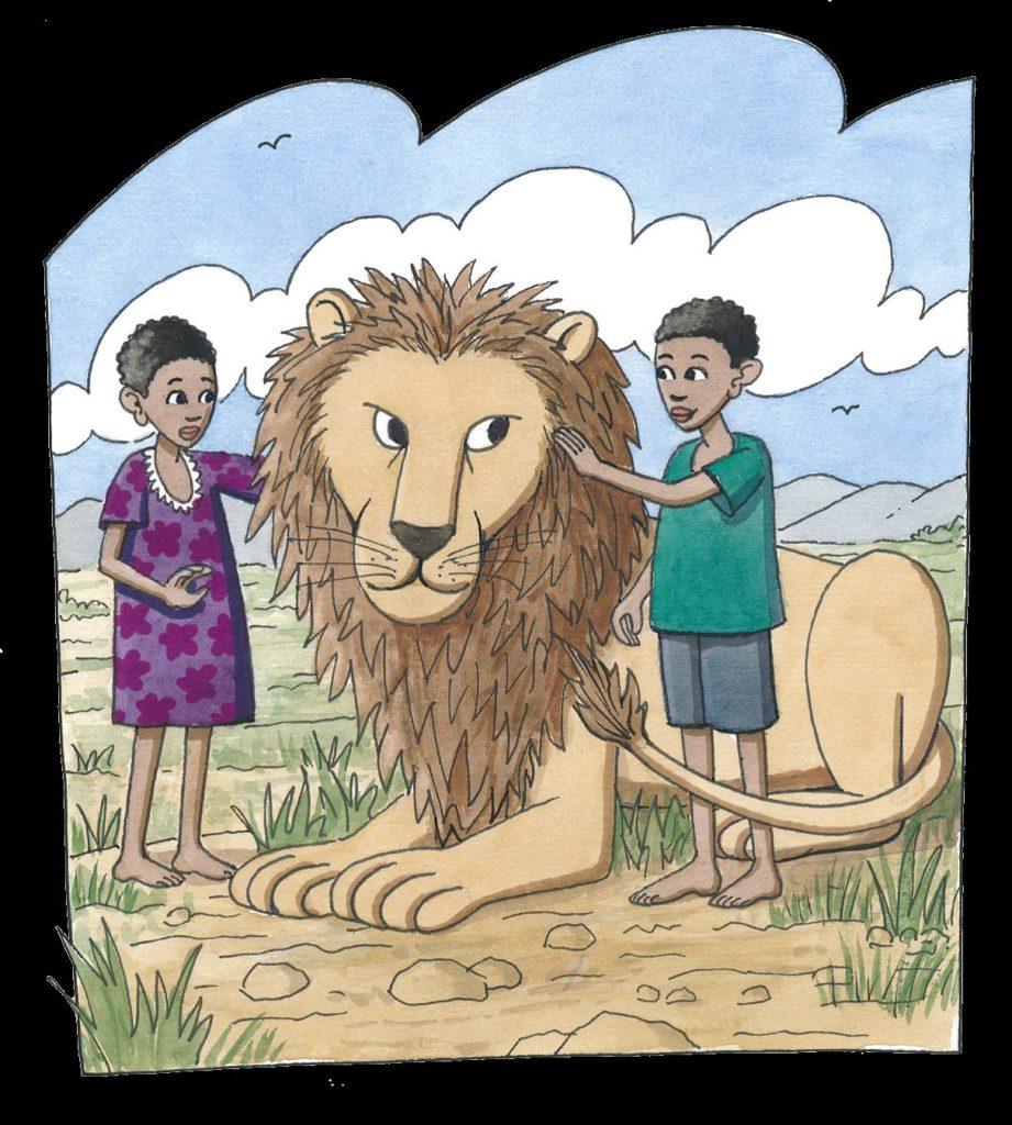 Zwei Kinder streicheln einen großen Löwen (Quelle: Peter Laux)