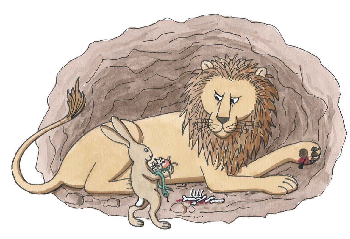 Ein Hase bringt einem Löwen in einer Höhle etwas zu fressen  (Quelle: Peter Laux)