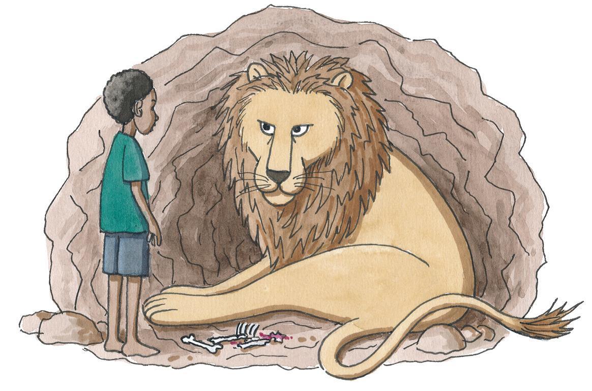 Ein Junge steht vor einem Löwen in einer Höhle  (Quelle: Peter Laux)